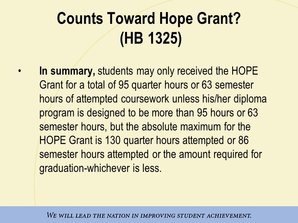 Counts Toward Hope Grant.