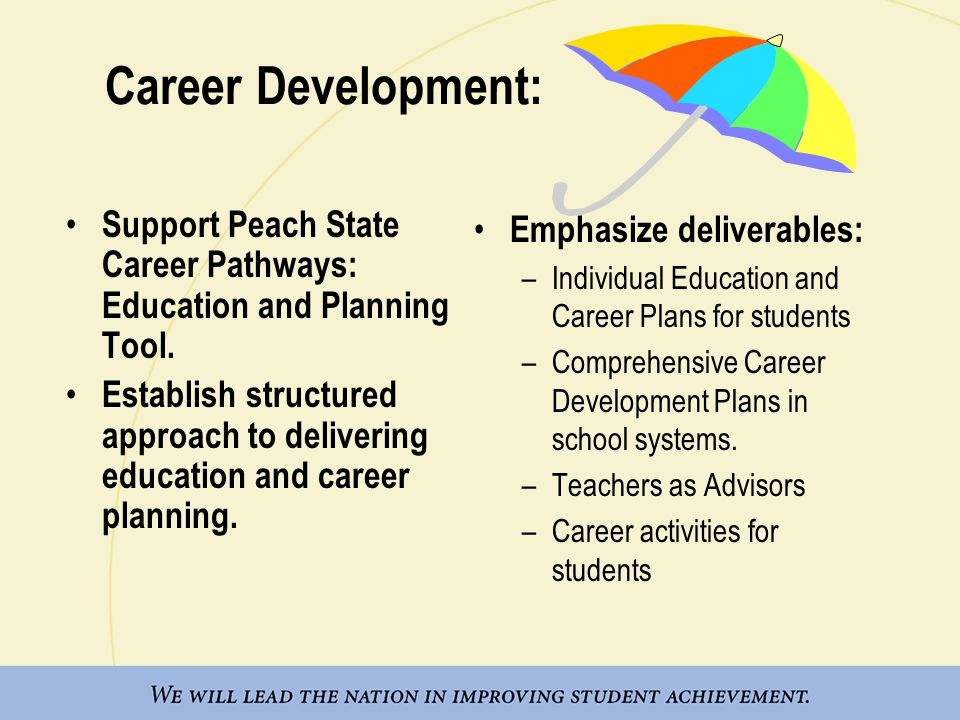 Career Development: Support Peach State Career Pathways: Education and Planning Tool.