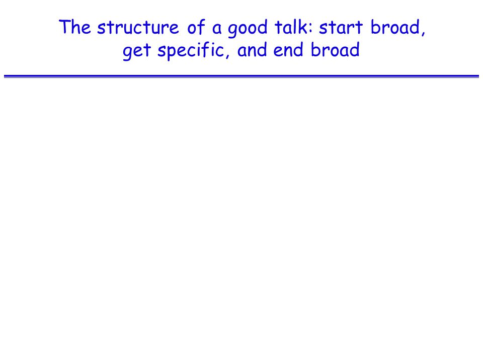 The structure of a good talk: start broad, get specific, and end broad