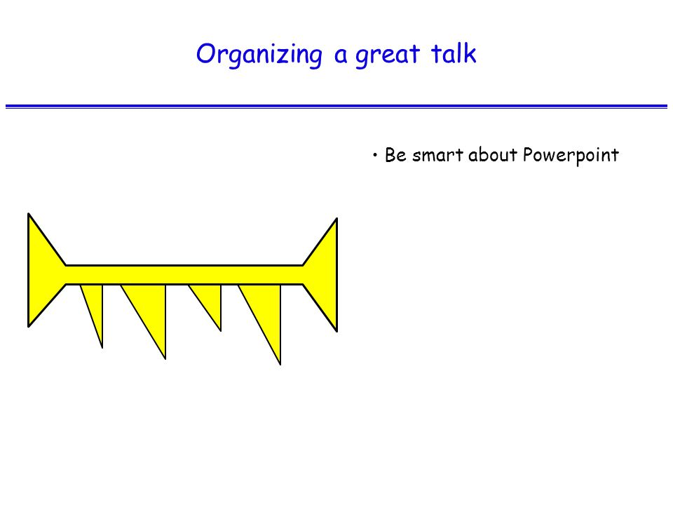 Organizing a great talk Be smart about Powerpoint