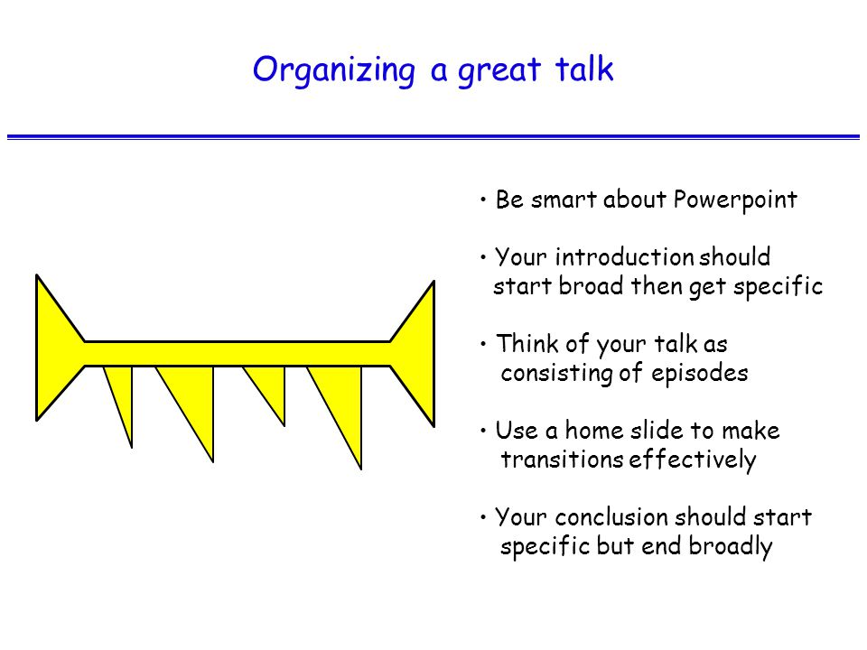 Organizing a great talk Be smart about Powerpoint Your introduction should start broad then get specific Think of your talk as consisting of episodes Use a home slide to make transitions effectively Your conclusion should start specific but end broadly