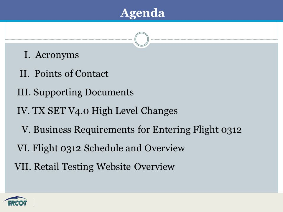 Agenda I. Acronyms II. Points of Contact III. Supporting Documents IV.