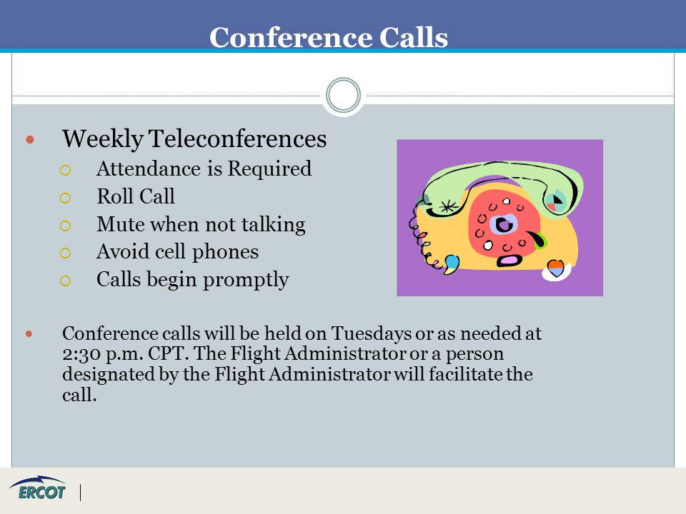 Conference Calls Weekly Teleconferences  Attendance is Required  Roll Call  Mute when not talking  Avoid cell phones  Calls begin promptly Conference calls will be held on Tuesdays or as needed at 2:30 p.m.