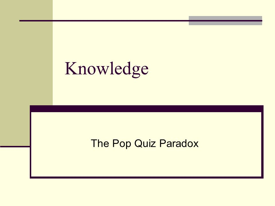 Knowledge The Pop Quiz Paradox