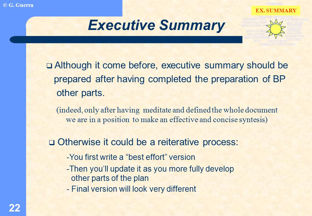 © G. Guerra 22 Executive Summary  Although it come before, executive summary should be prepared after having completed the preparation of BP other pa
