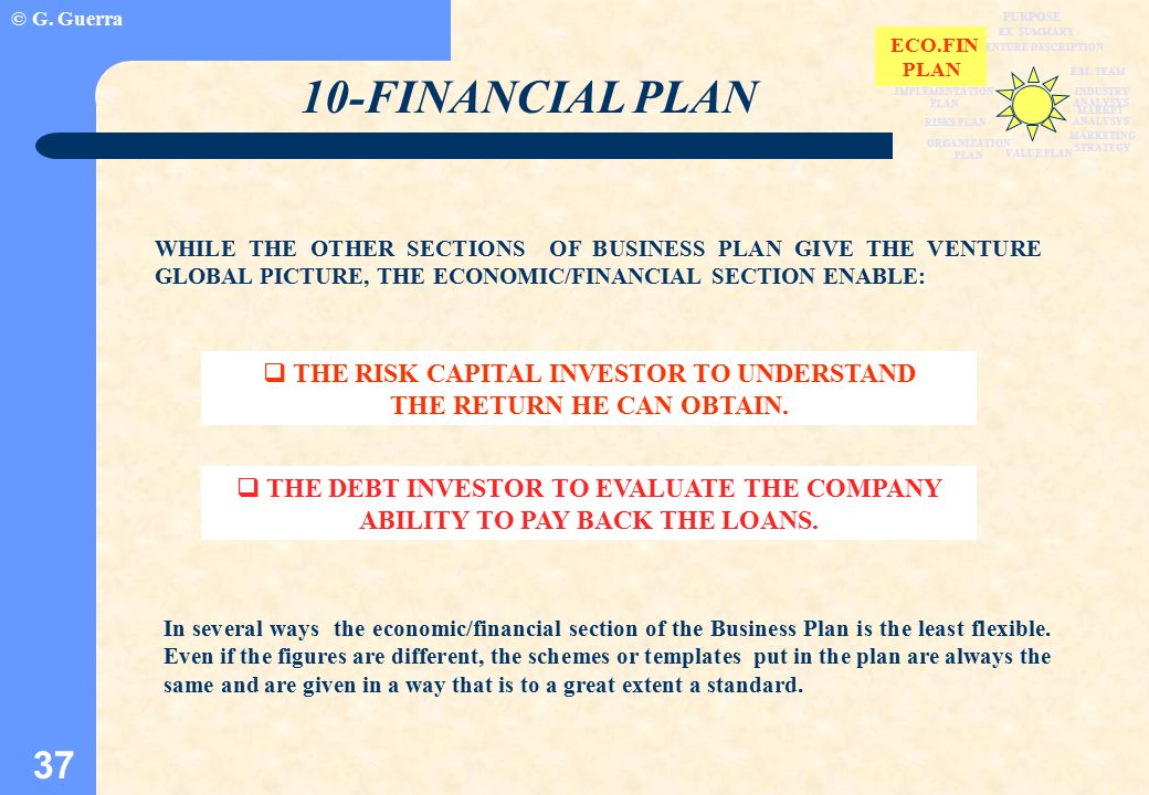 © G. Guerra 37 VENTURE DESCRIPTION EX. SUMMARY WHILE THE OTHER SECTIONS OF BUSINESS PLAN GIVE THE VENTURE GLOBAL PICTURE, THE ECONOMIC/FINANCIAL SECTI