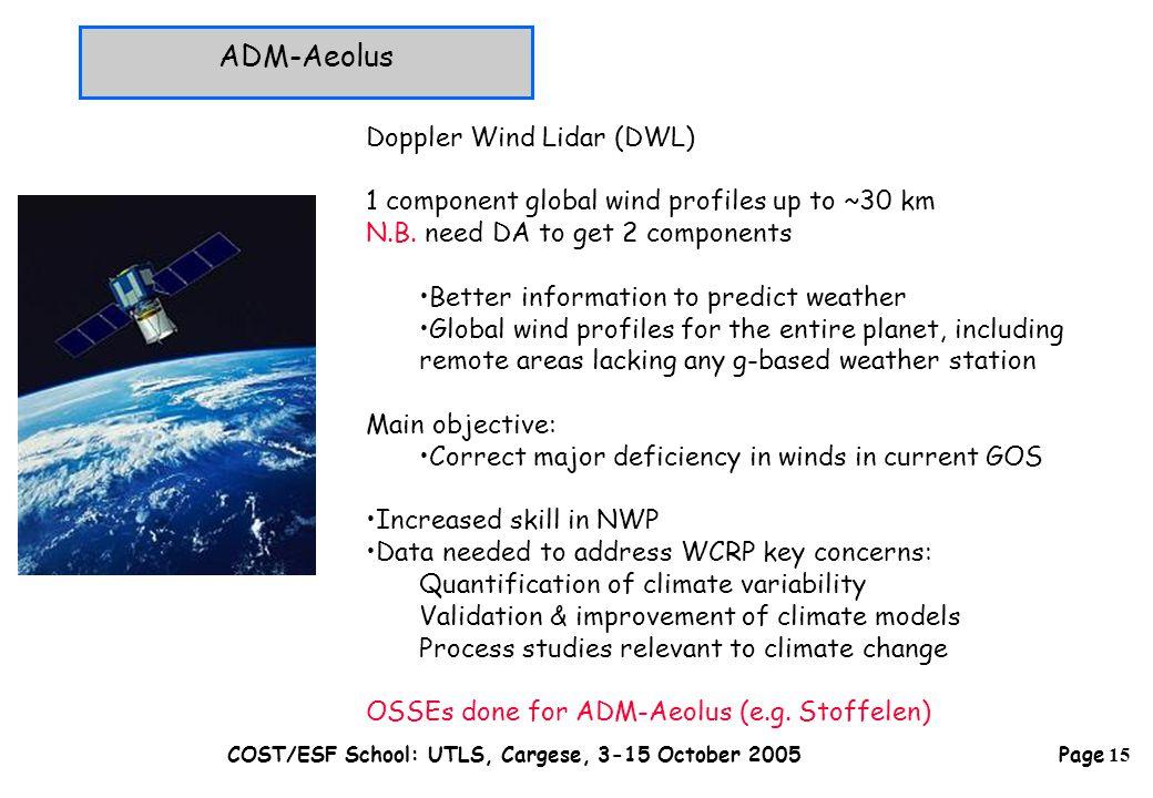 Page 15 COST/ESF School: UTLS, Cargese, 3-15 October 2005 ADM-Aeolus Doppler Wind Lidar (DWL) 1 component global wind profiles up to ~30 km N.B.