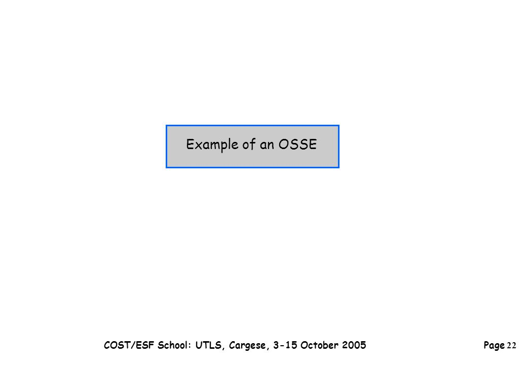 Page 22 COST/ESF School: UTLS, Cargese, 3-15 October 2005 Example of an OSSE