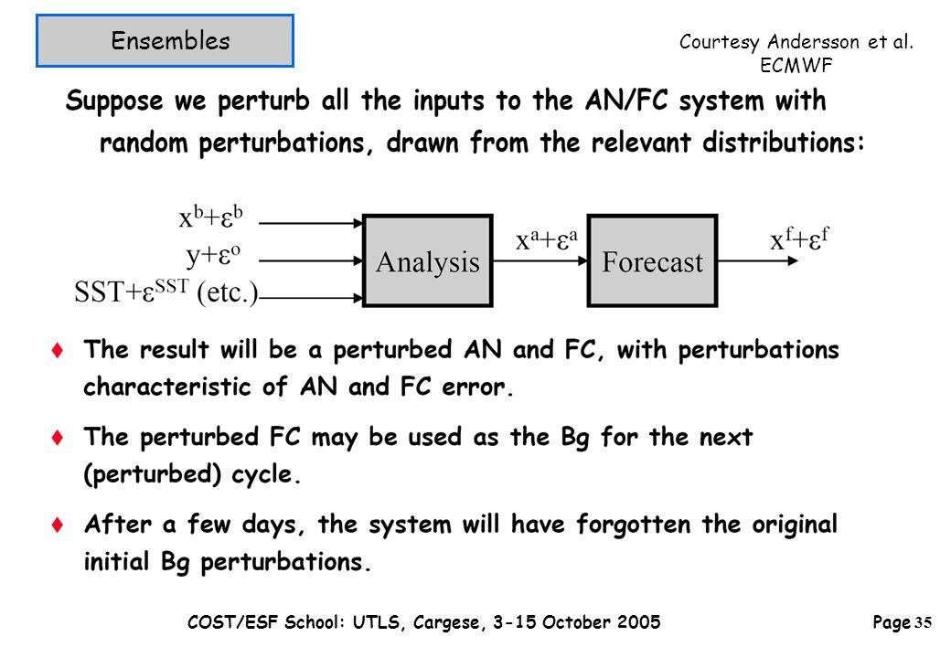 Page 35 COST/ESF School: UTLS, Cargese, 3-15 October 2005 Ensembles Courtesy Andersson et al. ECMWF