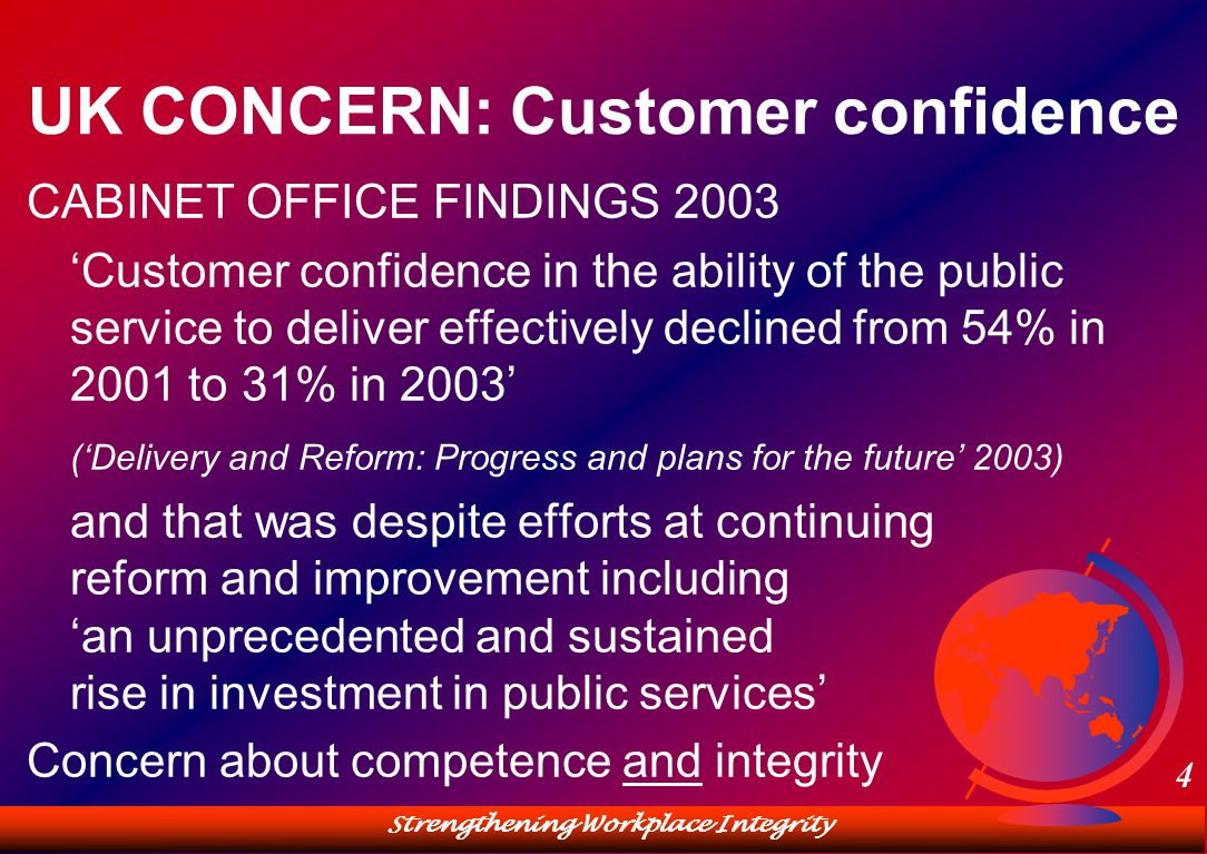 Strengthening Workplace Integrity 4 UK CONCERN: Customer confidence CABINET OFFICE FINDINGS 2003 'Customer confidence in the ability of the public service to deliver effectively declined from 54% in 2001 to 31% in 2003' ('Delivery and Reform: Progress and plans for the future' 2003) and that was despite efforts at continuing reform and improvement including 'an unprecedented and sustained rise in investment in public services' Concern about competence and integrity