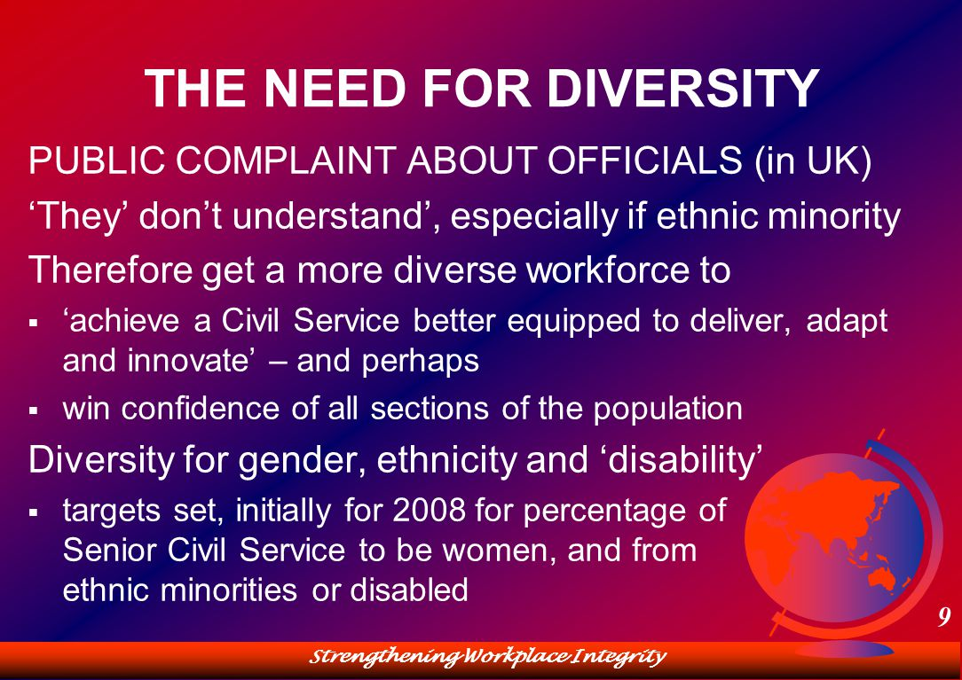 Strengthening Workplace Integrity 9 THE NEED FOR DIVERSITY PUBLIC COMPLAINT ABOUT OFFICIALS (in UK) 'They' don't understand', especially if ethnic minority Therefore get a more diverse workforce to  'achieve a Civil Service better equipped to deliver, adapt and innovate' – and perhaps  win confidence of all sections of the population Diversity for gender, ethnicity and 'disability'  targets set, initially for 2008 for percentage of Senior Civil Service to be women, and from ethnic minorities or disabled