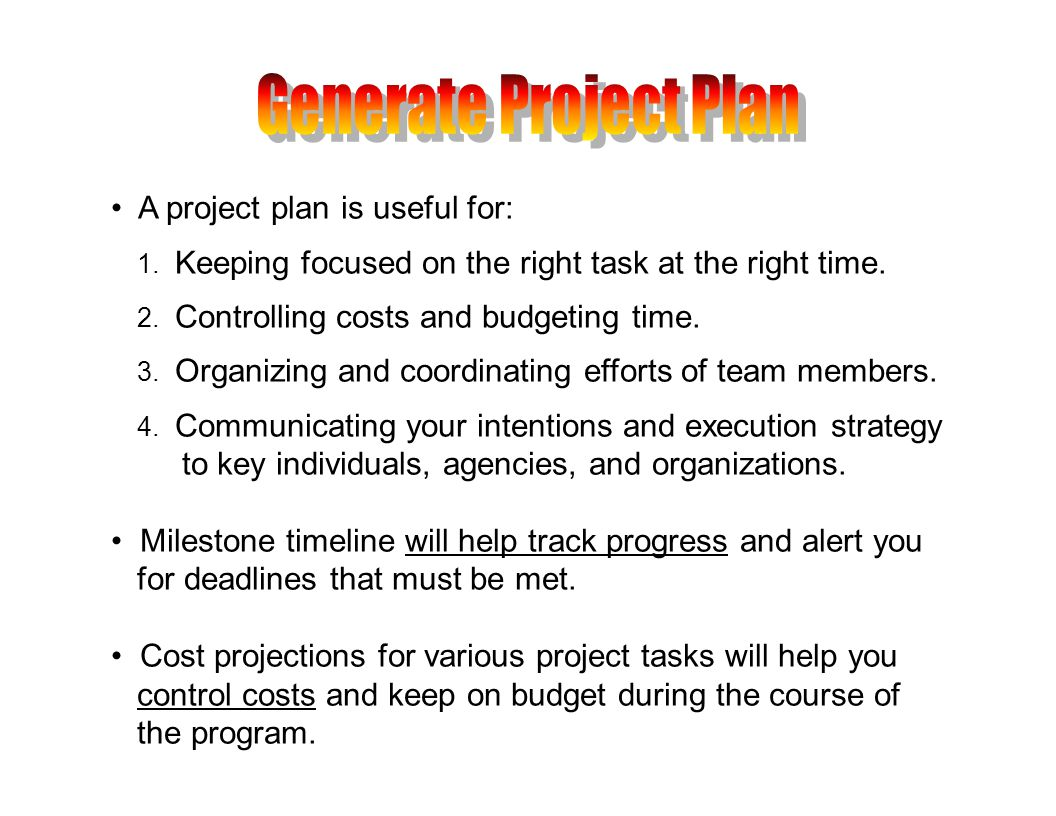 A project plan is useful for: 1. Keeping focused on the right task at the right time.