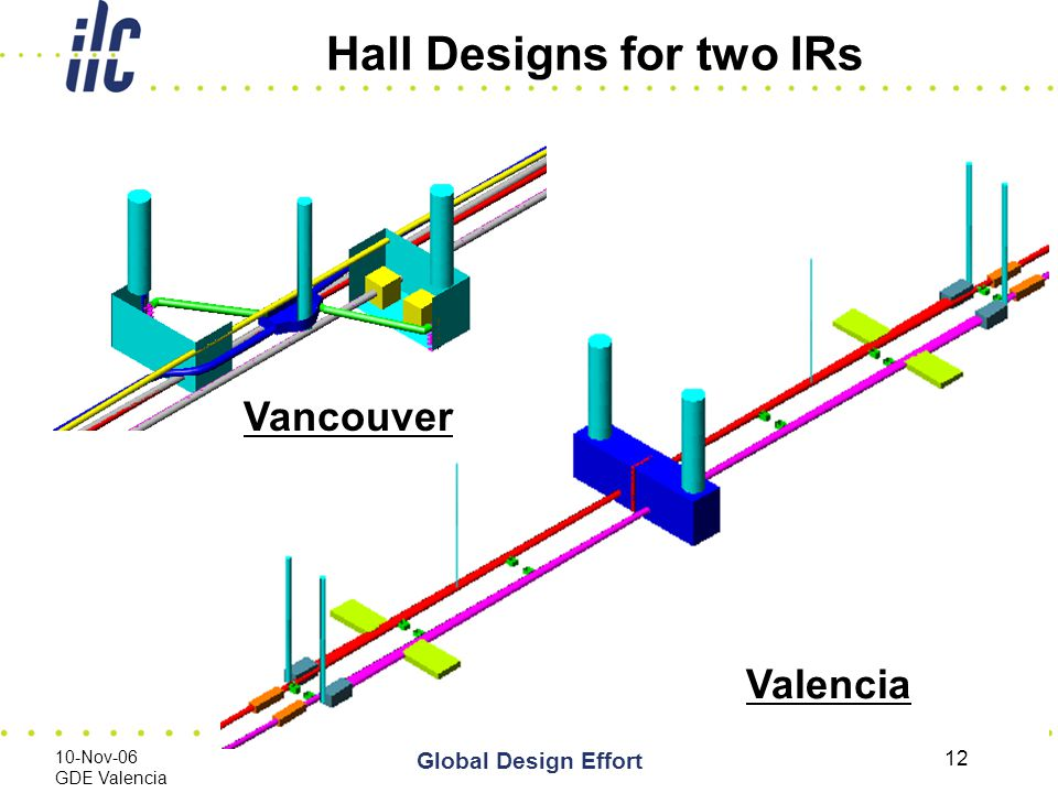 10-Nov-06 GDE Valencia Global Design Effort 12 Hall Designs for two IRs Valencia Vancouver
