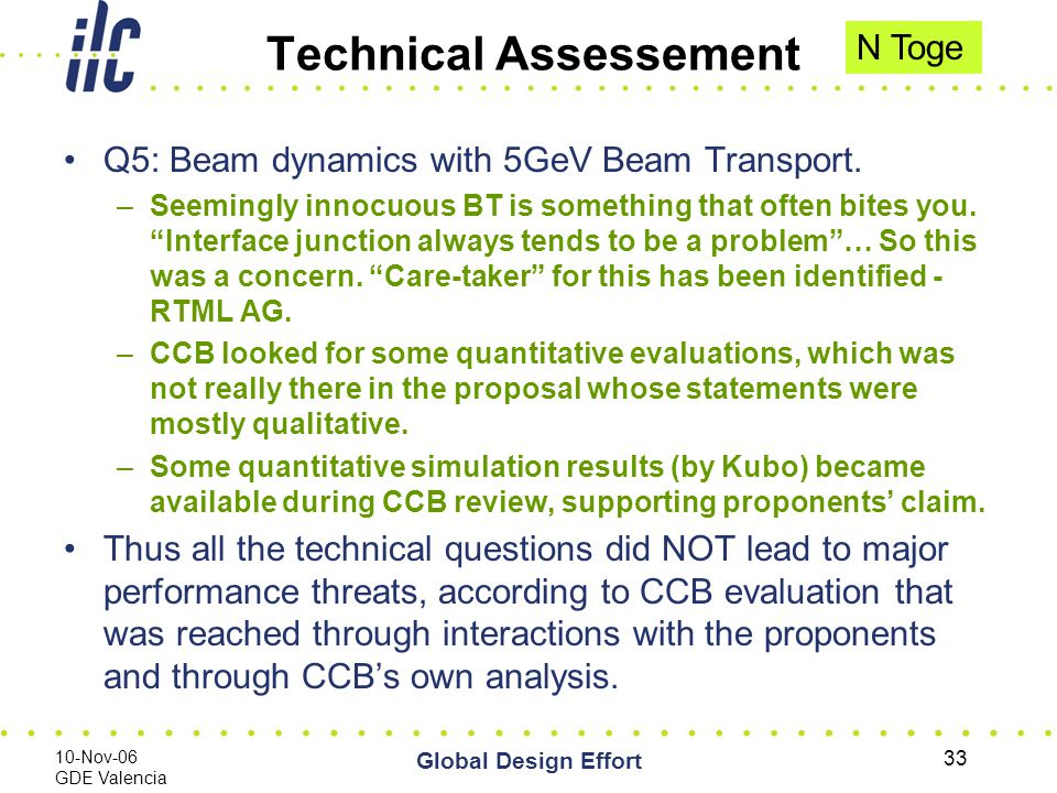 10-Nov-06 GDE Valencia Global Design Effort 33 Technical Assessement Q5: Beam dynamics with 5GeV Beam Transport.