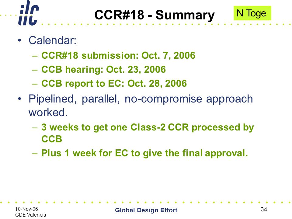 10-Nov-06 GDE Valencia Global Design Effort 34 CCR#18 - Summary Calendar: –CCR#18 submission: Oct.