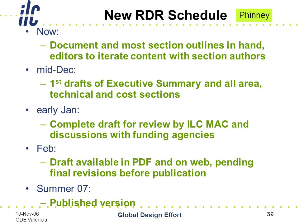 10-Nov-06 GDE Valencia Global Design Effort 39 New RDR Schedule Now: –Document and most section outlines in hand, editors to iterate content with section authors mid-Dec: –1 st drafts of Executive Summary and all area, technical and cost sections early Jan: –Complete draft for review by ILC MAC and discussions with funding agencies Feb: –Draft available in PDF and on web, pending final revisions before publication Summer 07: –Published version Phinney