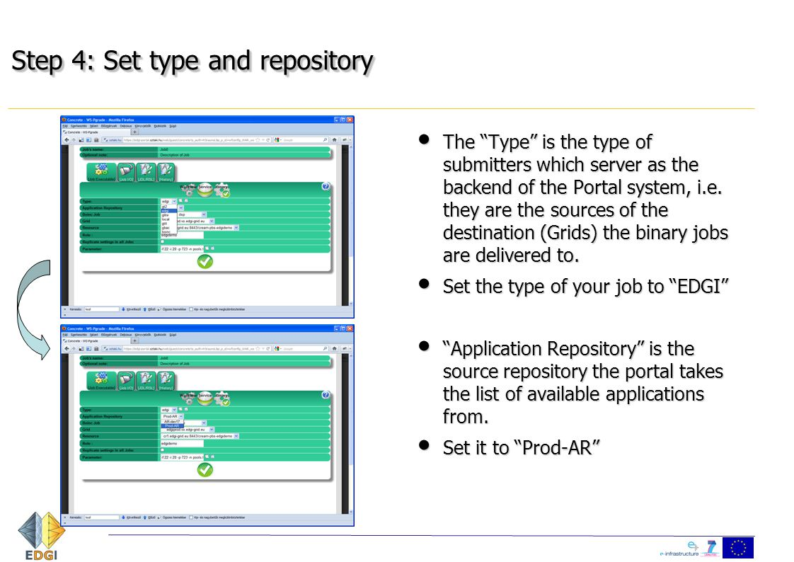 "Step 4: Set type and repository The ""Type"" is the type of submitters which server as the backend of the Portal system, i.e. they are the sources of th"