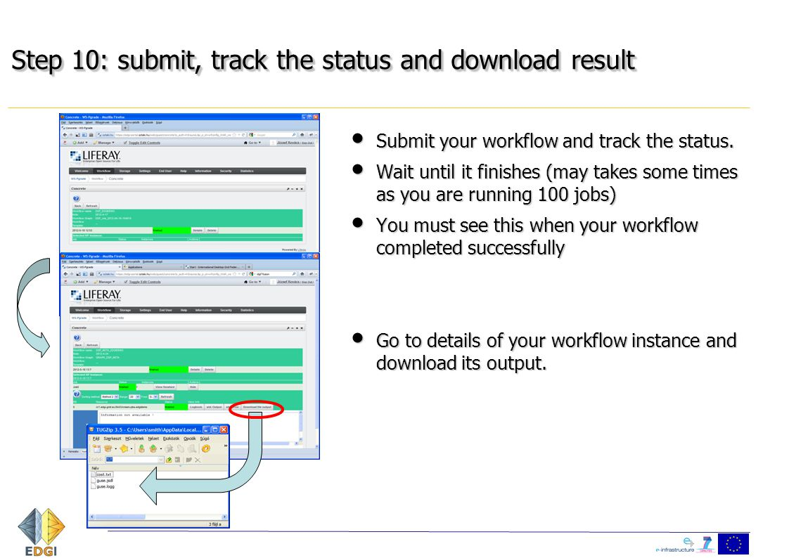 Step 10: submit, track the status and download result Submit your workflow and track the status. Submit your workflow and track the status. Wait until