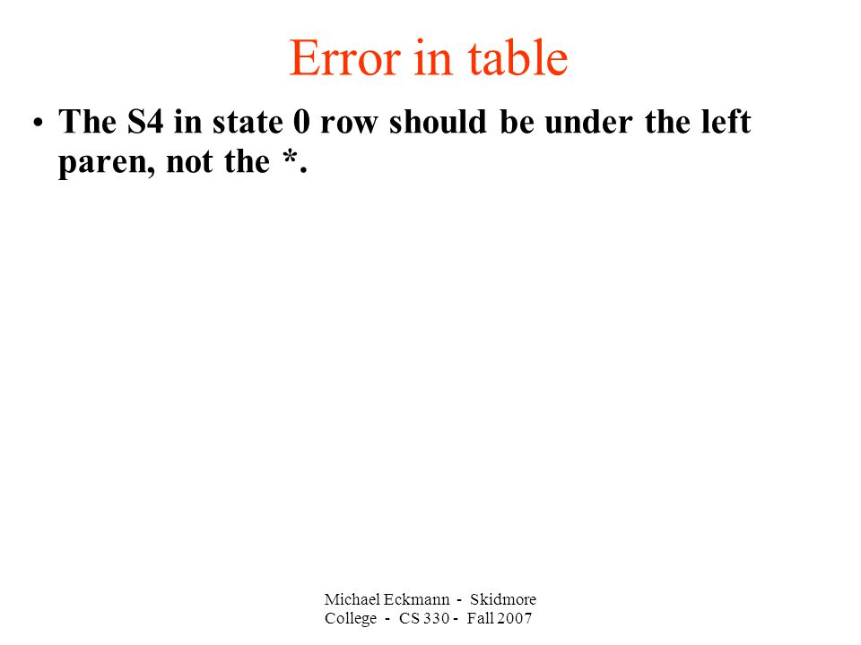 Error in table Michael Eckmann - Skidmore College - CS 330 - Fall 2007 The S4 in state 0 row should be under the left paren, not the *.