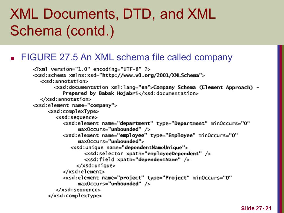Slide 27- 21 XML Documents, DTD, and XML Schema (contd.) FIGURE 27.5 An XML schema file called company
