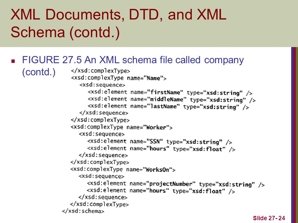 Slide 27- 24 XML Documents, DTD, and XML Schema (contd.) FIGURE 27.5 An XML schema file called company (contd.)