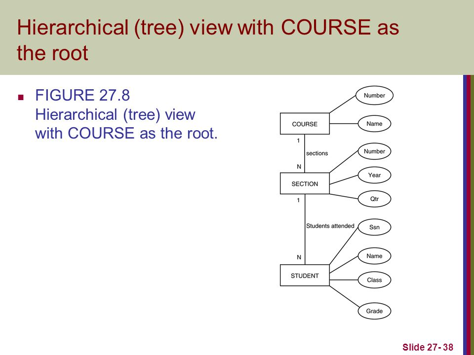 Slide 27- 38 Hierarchical (tree) view with COURSE as the root FIGURE 27.8 Hierarchical (tree) view with COURSE as the root.