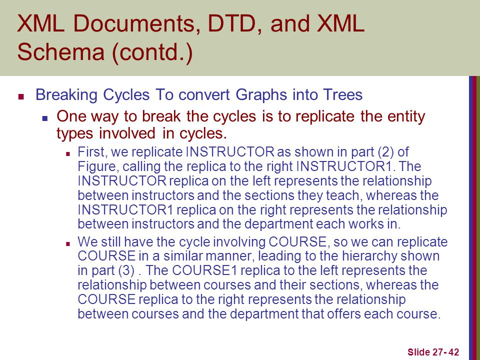 Slide 27- 42 XML Documents, DTD, and XML Schema (contd.) Breaking Cycles To convert Graphs into Trees One way to break the cycles is to replicate the entity types involved in cycles.
