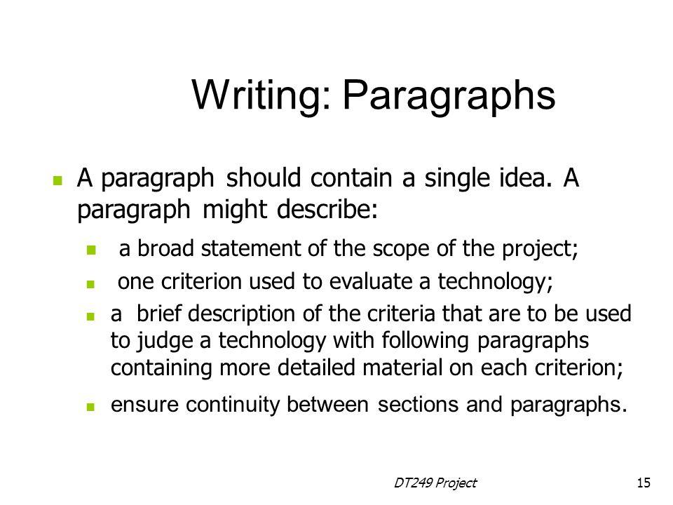 DT249 Project15 A paragraph should contain a single idea.