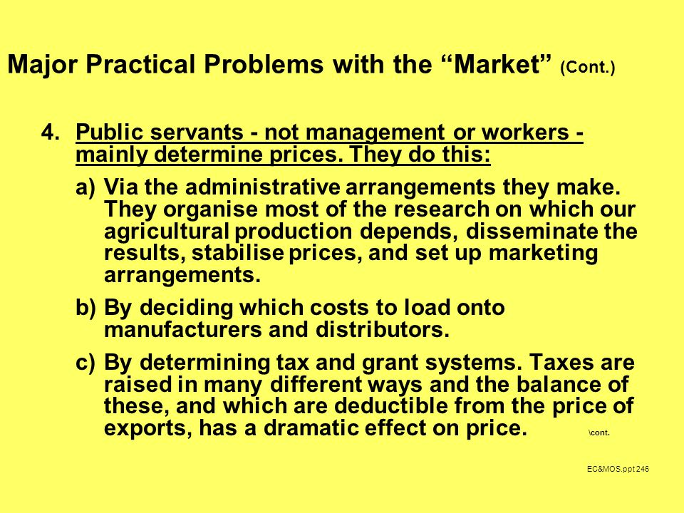 EC&MOS.ppt 246 Major Practical Problems with the Market (Cont.) 4.Public servants - not management or workers - mainly determine prices.