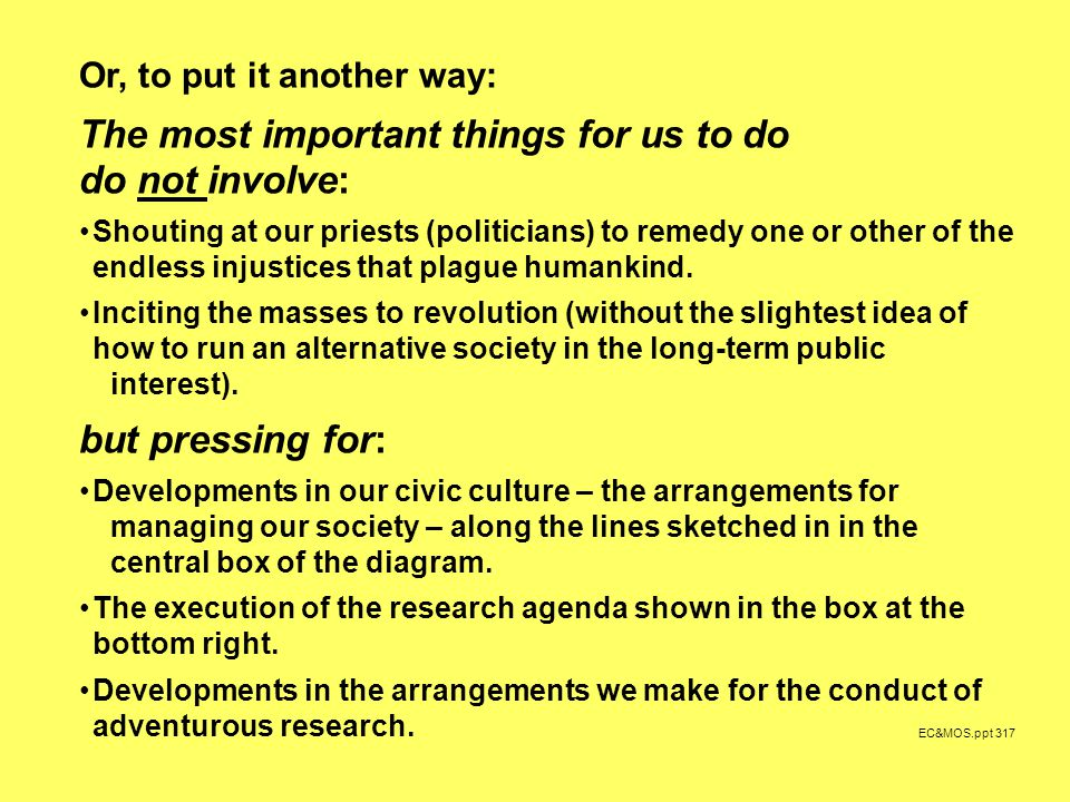 EC&MOS.ppt 317 Or, to put it another way: The most important things for us to do do not involve: Shouting at our priests (politicians) to remedy one or other of the endless injustices that plague humankind.