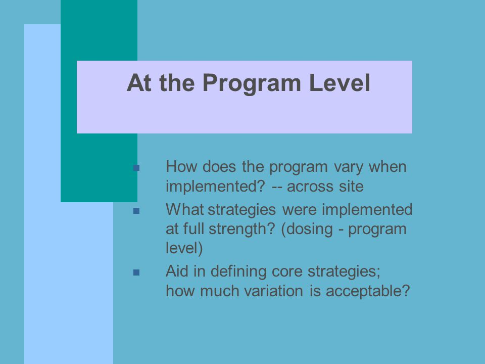 At the Program Level n How does the program vary when implemented.