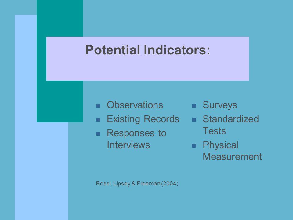 Potential Indicators: n Observations n Existing Records n Responses to Interviews Rossi, Lipsey & Freeman (2004) n Surveys n Standardized Tests n Physical Measurement