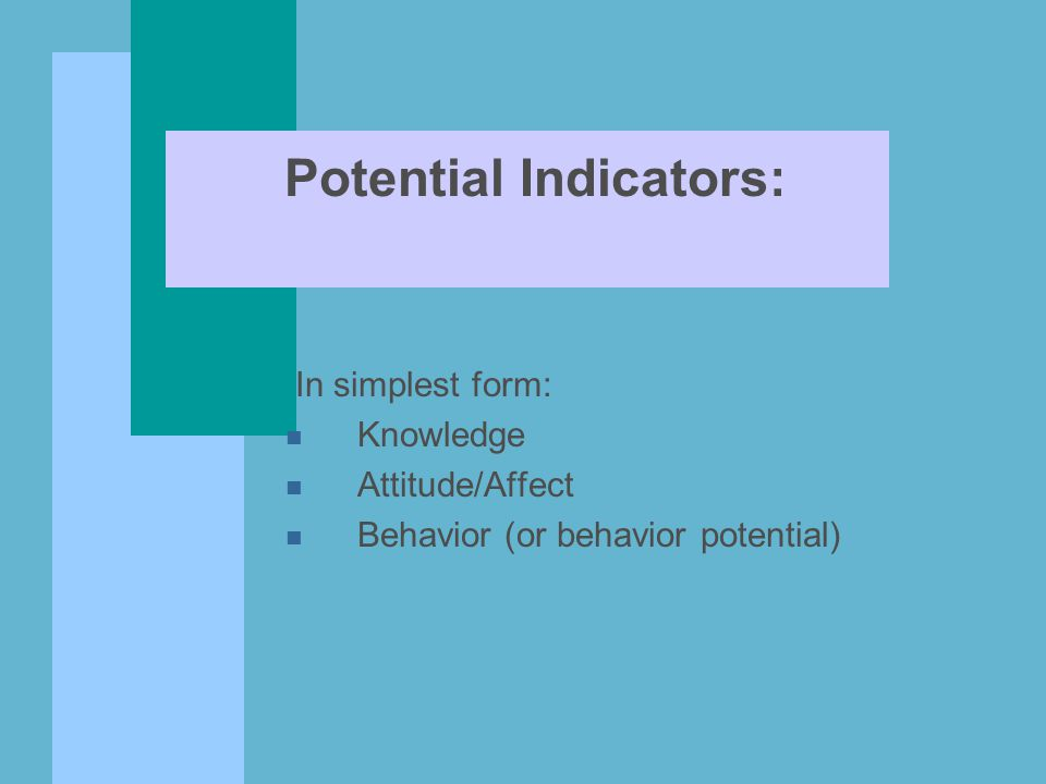 Potential Indicators: In simplest form: n Knowledge n Attitude/Affect n Behavior (or behavior potential)