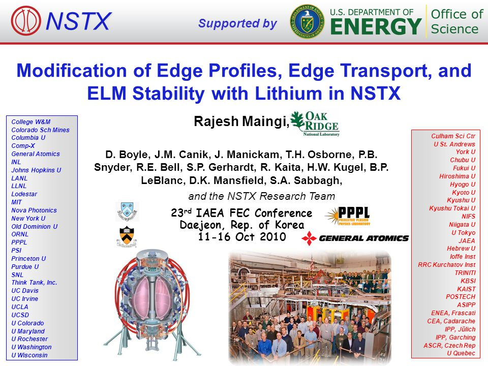 Modification of Edge Profiles, Edge Transport, and ELM Stability with Lithium in NSTX Rajesh Maingi, D.