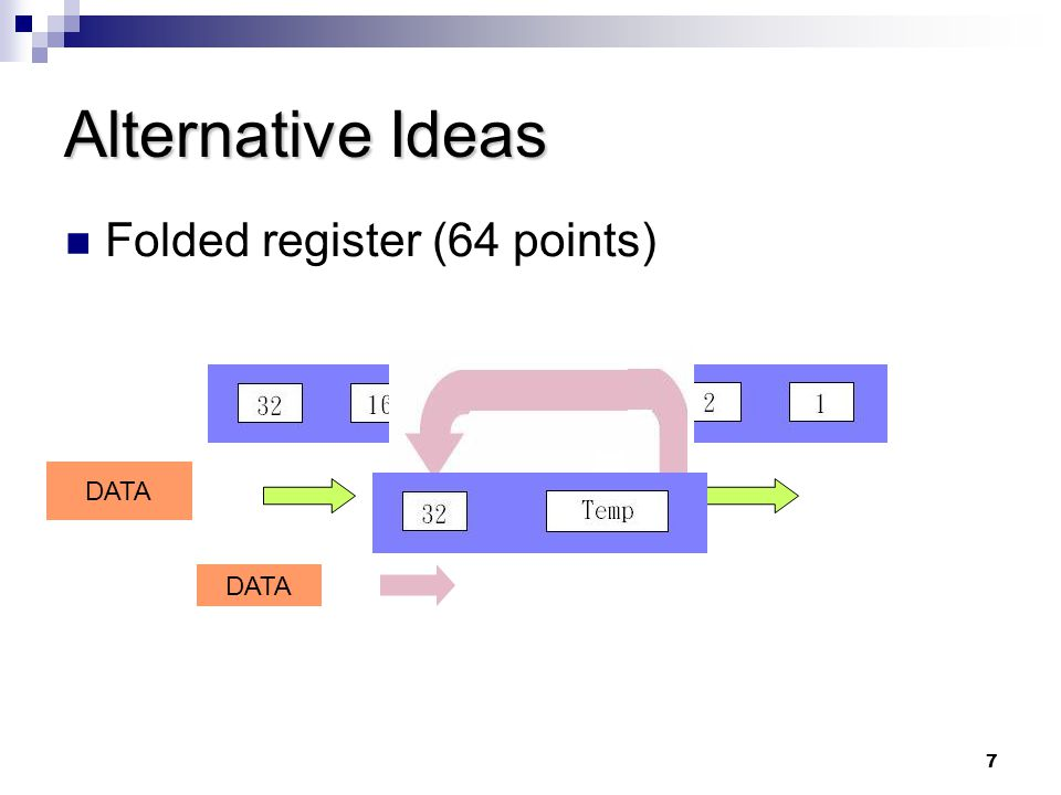 8 Alternative Ideas (cont'd) Pipeline  reduce the length of the critical path