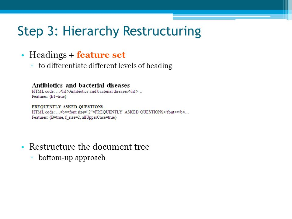 Step 3: Hierarchy Restructuring Headings + feature set ▫to differentiate different levels of heading Restructure the document tree ▫bottom-up approach