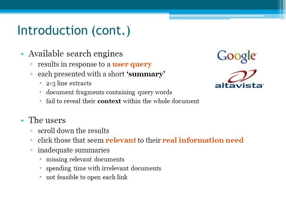 Web Document Analysis Web documents ▫HTML (Hypertext Markup Language)  presentation of content ▫semi-structured documents Motivations ▫to filter important content ▫to convert HTML documents into semantically-rich XML documents ▫obtaining a hierarchical structure for the documents ▫display content in small-screen devices such as PDAs ▫more intelligent retrieval of information, summarization, etc Approaches ▫HTML tags and DOM tree ▫rule-based or machine learning-based ▫certain domain or domain-independent