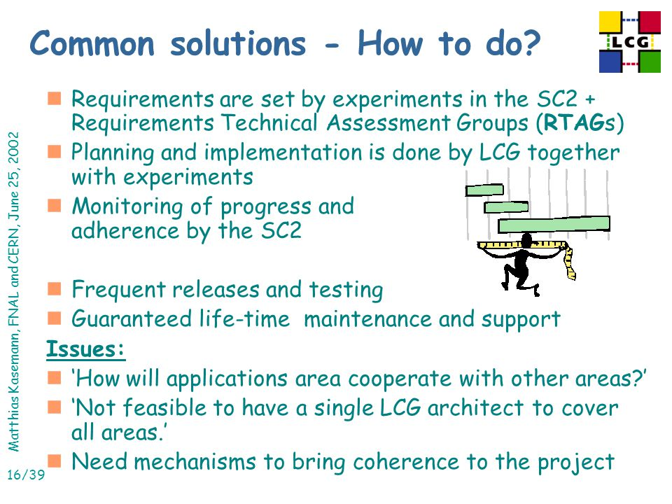 Matthias Kasemann, FNAL and CERN, June 25, 2002 16/39 Common solutions - How to do.