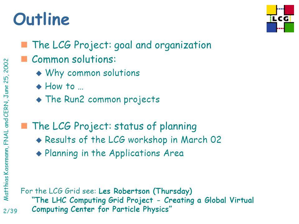 Matthias Kasemann, FNAL and CERN, June 25, 2002 23/39 Software Process RTAG nMandate: u Define a process for managing LCG software.