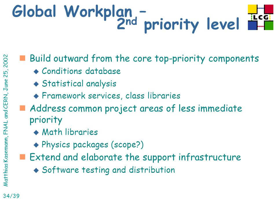 Matthias Kasemann, FNAL and CERN, June 25, 2002 34/39 Global Workplan – 2 nd priority level nBuild outward from the core top-priority components u Conditions database u Statistical analysis u Framework services, class libraries nAddress common project areas of less immediate priority u Math libraries u Physics packages (scope ) nExtend and elaborate the support infrastructure u Software testing and distribution