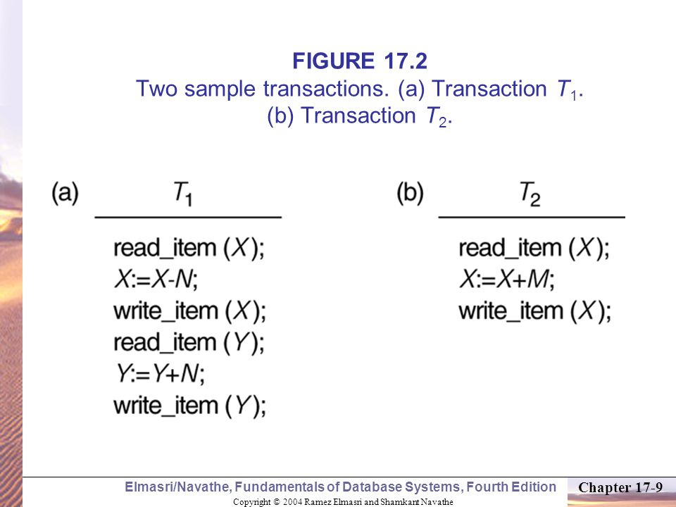 Copyright © 2004 Ramez Elmasri and Shamkant Navathe Elmasri/Navathe, Fundamentals of Database Systems, Fourth Edition Chapter 17-20 Transaction and System Concepts (3) Recovery manager keeps track of the following operations (cont): commit_transaction: This signals a successful end of the transaction so that any changes (updates) executed by the transaction can be safely committed to the database and will not be undone.