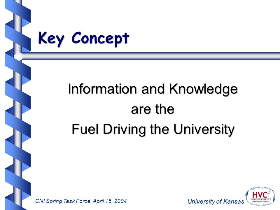University of Kansas CNI Spring Task Force, April 15, 2004 Information Services @ KU Key player on campus in responding to / helping shape this change in focusKey player on campus in responding to / helping shape this change in focus Help the University community leverage information / knowledge: make the best use of itHelp the University community leverage information / knowledge: make the best use of it