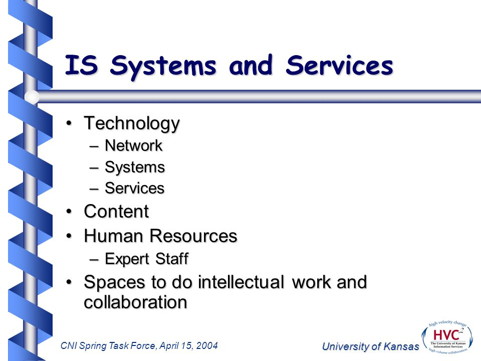 University of Kansas CNI Spring Task Force, April 15, 2004 Impact of Shifting Information Life-Cycle Shift toward focus on digital formats resulting in need to re-examine information life-cycleShift toward focus on digital formats resulting in need to re-examine information life-cycle Critical to understanding methods for digital asset managementCritical to understanding methods for digital asset management Key to defining the points of influence for preserving digital assetsKey to defining the points of influence for preserving digital assets Outcome:Outcome: –Must move management processes upstream to the point of information creation –New services, procedures, and policies needed