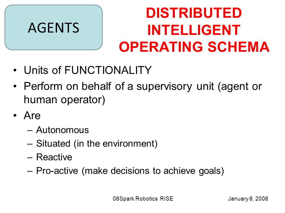 January 8, 2008Spark Robotics RISE08 Units of FUNCTIONALITY Perform on behalf of a supervisory unit (agent or human operator) Are –Autonomous –Situated (in the environment) –Reactive –Pro-active (make decisions to achieve goals) AGENTS DISTRIBUTED INTELLIGENT OPERATING SCHEMA