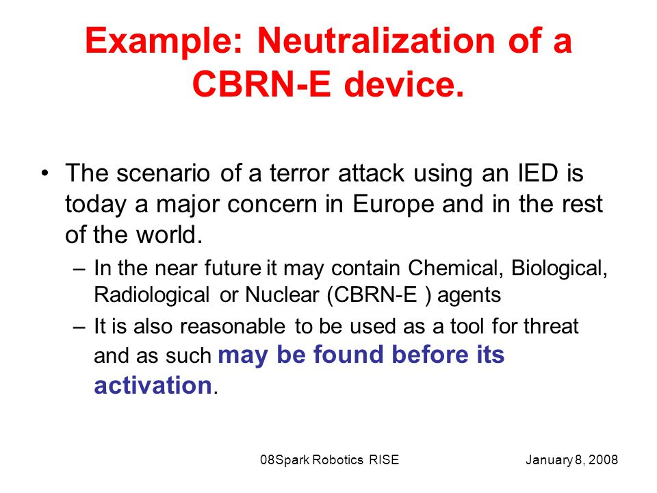 January 8, 2008Spark Robotics RISE08 Example: Neutralization of a CBRN-E device.