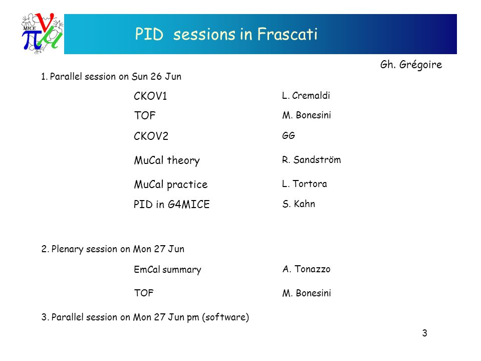 PID sessions in Frascati Gh. Grégoire CKOV1 TOF MuCal theory CKOV2 MuCal practice PID in G4MICE L.