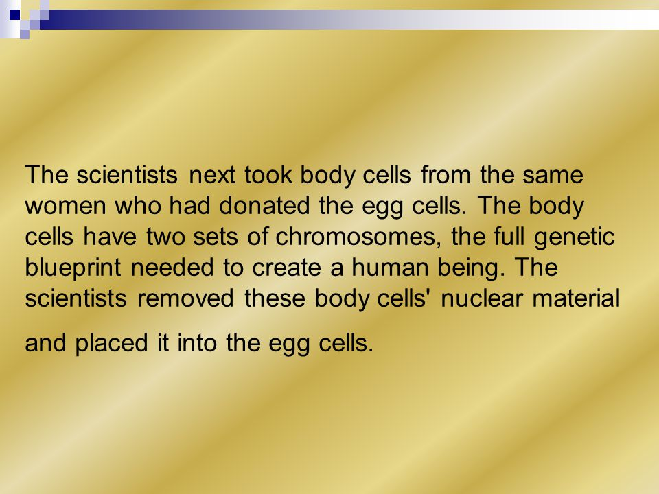 The scientists next took body cells from the same women who had donated the egg cells.