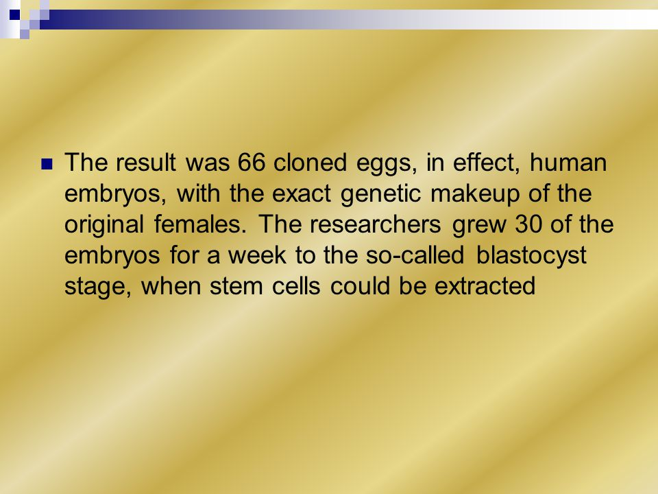 The result was 66 cloned eggs, in effect, human embryos, with the exact genetic makeup of the original females.