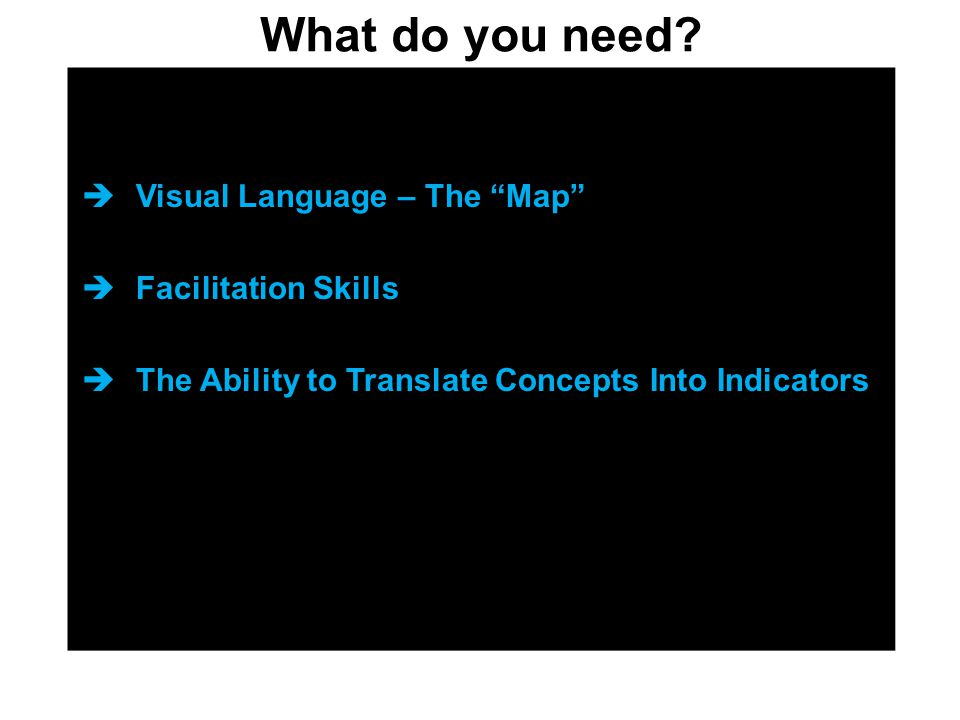 """What do you need?  Visual Language – The """"Map""""  Facilitation Skills  The Ability to Translate Concepts Into Indicators"""