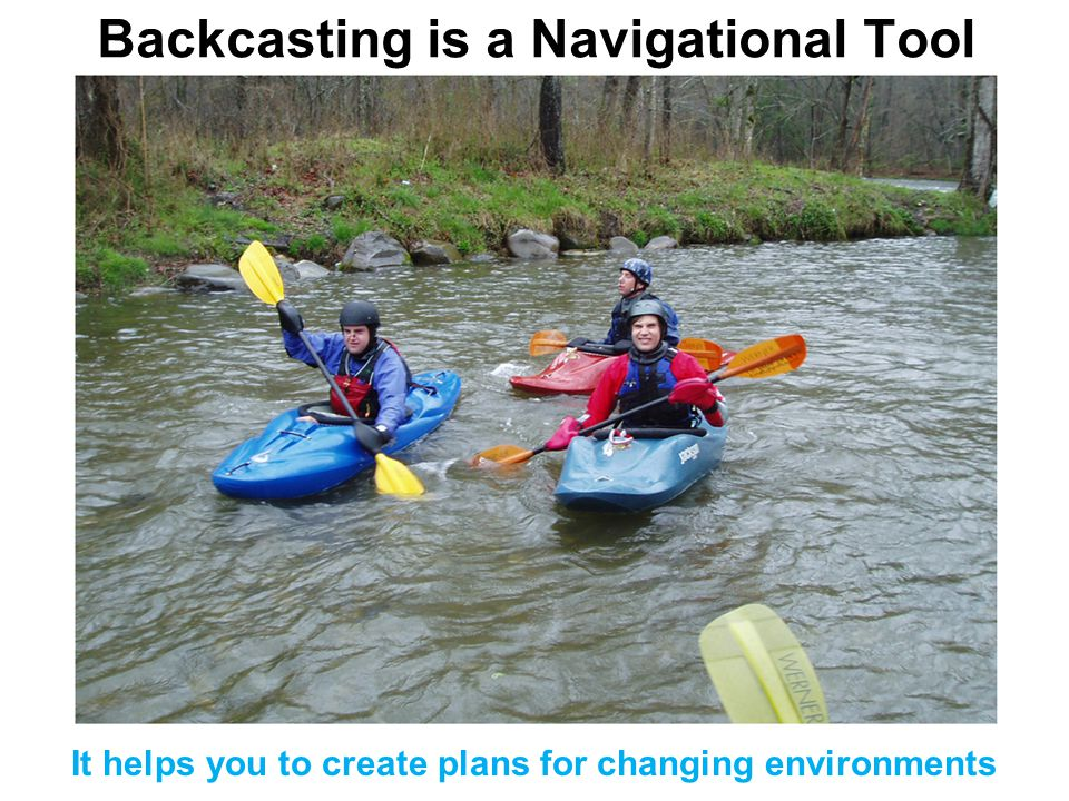 Backcasting is a Navigational Tool It helps you to create plans for changing environments